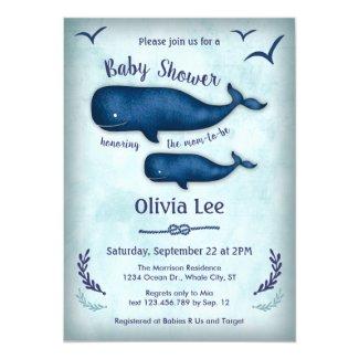 Vintage Whale Baby Shower Invitation