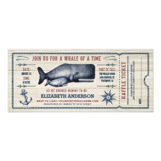 Vintage Whale, Baby Shower Ticket Invitation