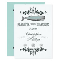 Vintage Whale Beach Wedding Save the Date Invite