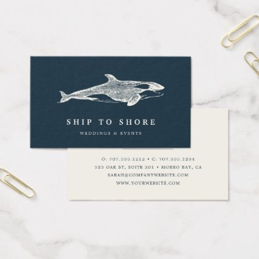 Beach Themed Vintage Whale Business Card