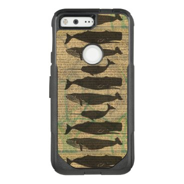 Beach Themed Vintage Whale Classic Artwork Fish Rustic OtterBox Commuter Google Pixel Case