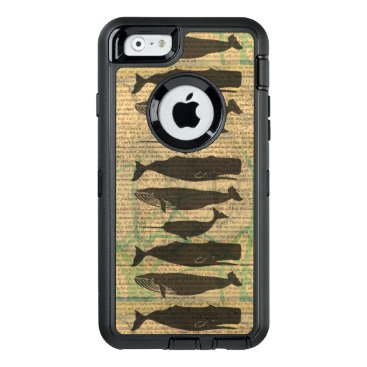 Beach Themed Vintage Whale Classic Artwork Fish Rustic OtterBox Defender iPhone Case