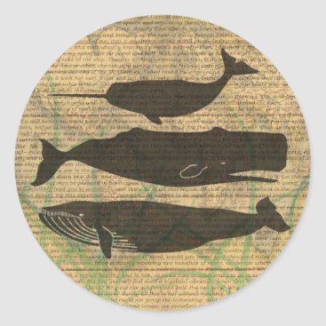 Beach Themed Vintage Whale Decor Rustic Nautical Classic Round Sticker