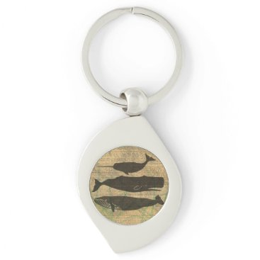 Beach Themed Vintage Whale Decor Rustic Nautical Keychain