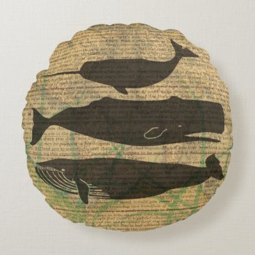 Beach Themed Vintage Whale Decor Rustic Nautical Round Pillow