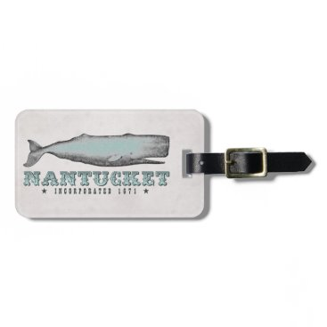 Beach Themed Vintage Whale Nantucket MA Inc 1671 Luggage Tag