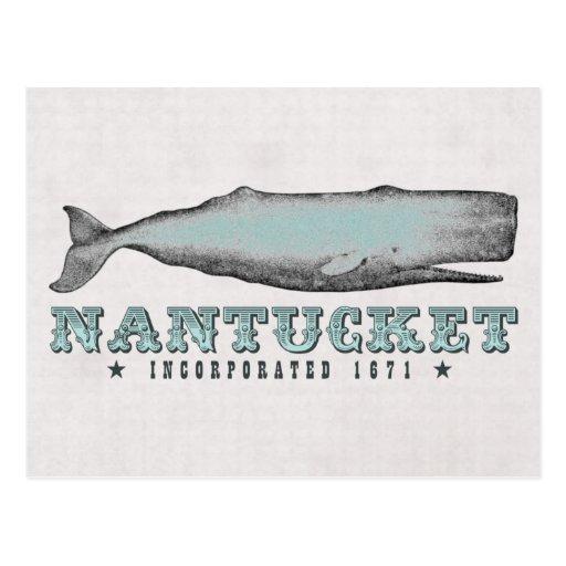 Vintage Whale Nantucket MA Inc 1671 Postcard