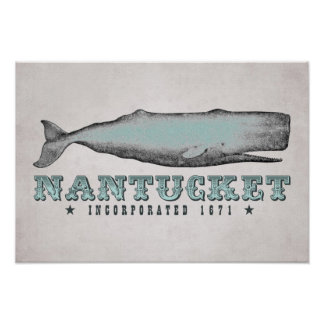 Vintage Whale Nantucket MA Inc 1671 Poster
