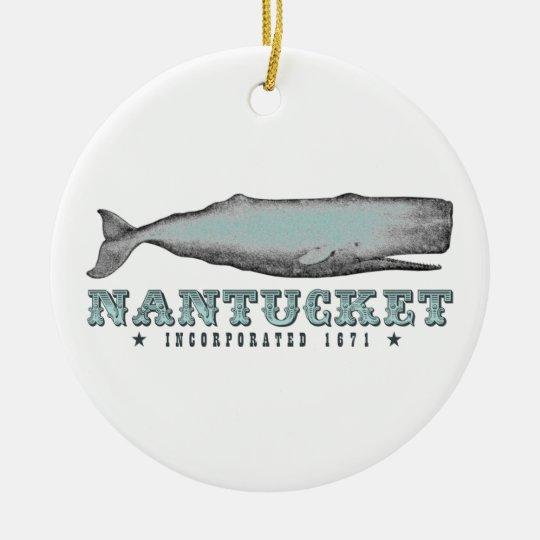 Vintage Whale Nantucket MA Ornament