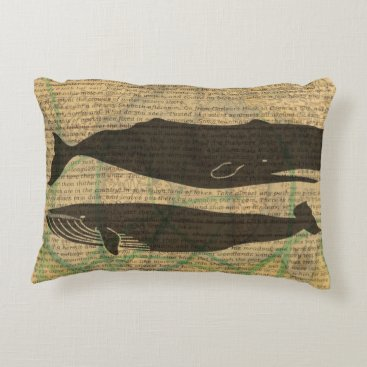 Beach Themed Vintage whale nautical rustic beachy accent pillow