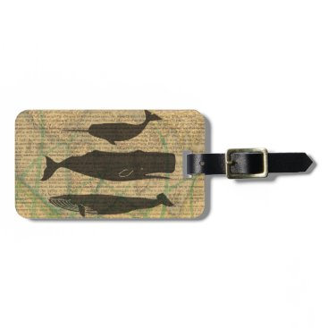 Beach Themed Vintage whale nautical rustic beachy bag tag