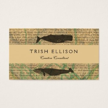 Beach Themed Vintage whale nautical rustic beachy business card