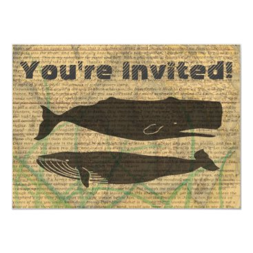 Vintage whale nautical rustic beachy card