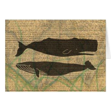 Beach Themed Vintage whale nautical rustic beachy card