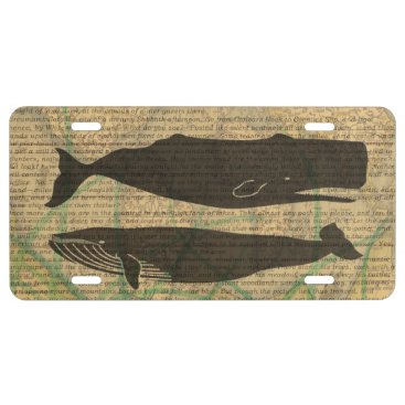 Beach Themed Vintage whale nautical rustic beachy license plate