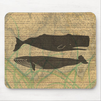 Vintage whale nautical rustic beachy mouse pad