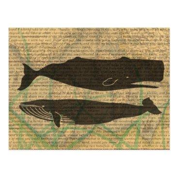 Beach Themed Vintage whale nautical rustic beachy postcard