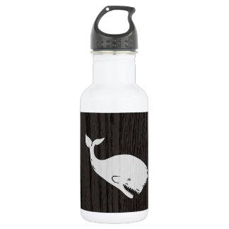 Vintage Whale Sketch On Woodgrain 18oz Water Bottle