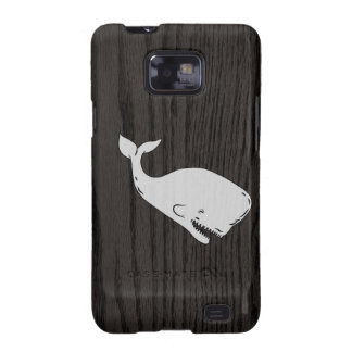 Vintage Whale Sketch On Woodgrain Galaxy SII Cases
