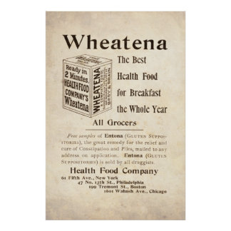Vintage Wheatena Health Food Ad from 1899 Poster