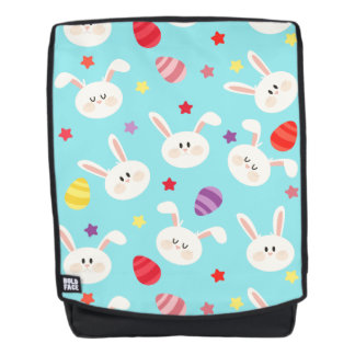 Vintage whimsical bunny and egg turquoise pattern backpack
