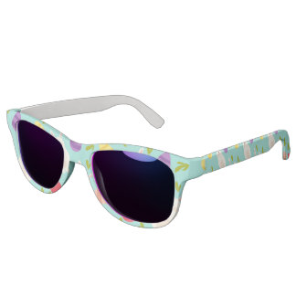 Vintage whimsical bunny and egg turquoise pattern sunglasses