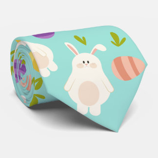 Vintage whimsical bunny and egg turquoise pattern tie