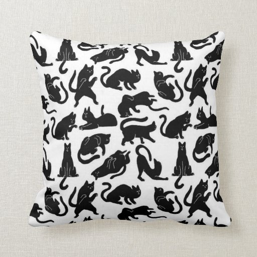 Throw Pillows Vintage Fabric : Vintage Whimsical Cat Fabric Throw Pillow Zazzle