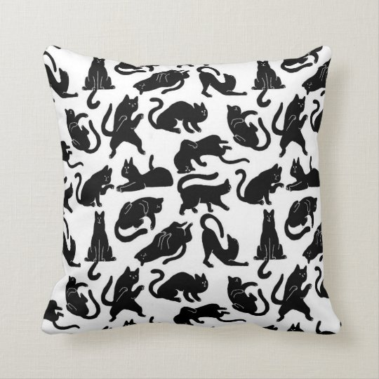 Vintage whimsical cat pattern fabric throw pillow - Fabric for throw pillows ...