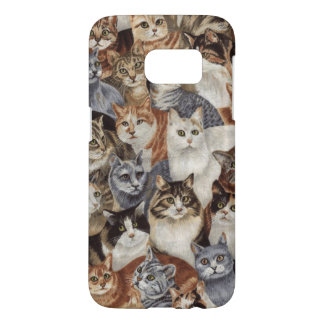 Vintage Whimsical Cat Pattern Samsung Galaxy S7 Case