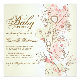 """Vintage Whimsical Flowers Baby Shower Invitation 5.25"""" Square Invitation Card"""