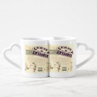 Vintage whimsical girly hipster victorian nouveau lovers mug set