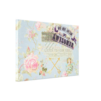 Vintage whimsical girly shabby chic collage art canvas prints