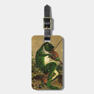 Vintage Whimsical Romantic Frog with Violin Luggage Tag
