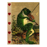 Vintage Whimsical Romantic Frog with Violin Postcard
