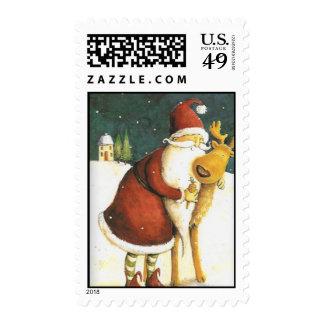 Vintage Whimsical Santa Christmas Postage stamp