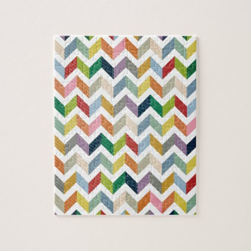 Vintage Whimsy Chevron - Color Love Jigsaw Puzzles