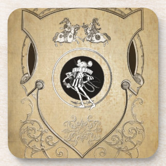 Vintage Whimsy Mouse knight shield Drink Coaster