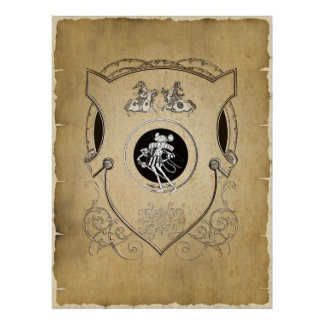 Vintage Whimsy Mouse knight shield Poster