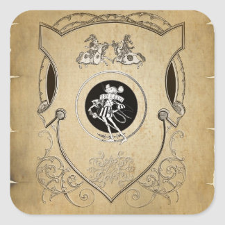 Vintage Whimsy Mouse knight shield Square Sticker