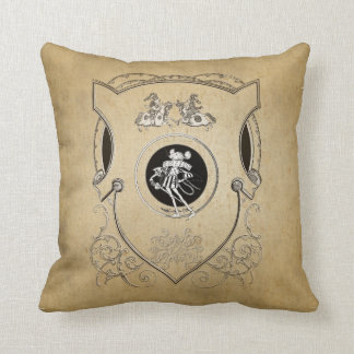 Vintage Whimsy Mouse knight shield Throw Pillow