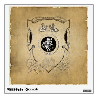 Vintage Whimsy Mouse knight shield Wall Sticker