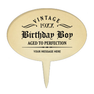 Vintage Whiskey Person Funny Birthday Cake Topper