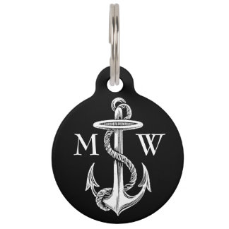 Vintage White Anchor Rope Black with Contact Info Pet Name Tag