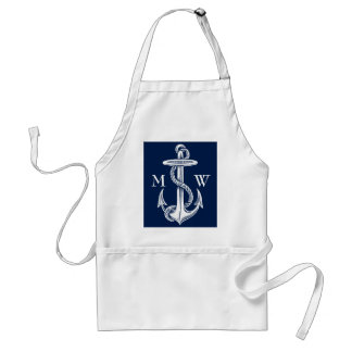 Vintage White Anchor Rope Navy Blue Background Adult Apron