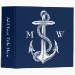 Vintage White Anchor Rope Navy Blue Background Binders
