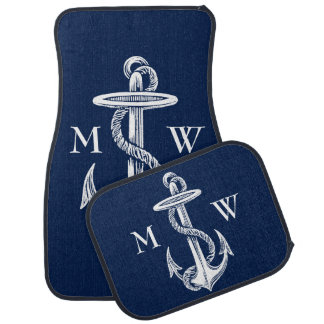 Vintage White Anchor Rope Navy Blue Background Car Mat