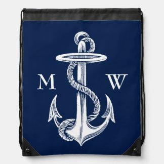 Vintage White Anchor Rope Navy Blue Background Drawstring Bag