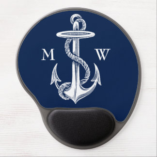 Vintage White Anchor Rope Navy Blue Background Gel Mouse Pad