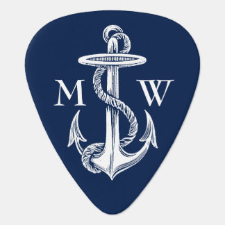 Vintage White Anchor Rope Navy Blue Background Guitar Pick